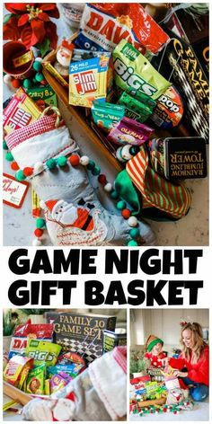 A Game Night Gift Basket is a fun gift to give. The only real requirement is to make it fun, and of course, include something salty and sweet. Family Game Night, Family Games, Raffle Baskets, Gift Baskets, Boyfriend Gift Basket, Sweet Boyfriend, Sweet Popcorn, Holiday Gift Tags, Party Food And Drinks