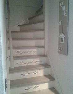 Inventive Staircase Design Tips for the Home – Voyage Afield Entry Stairs, House Stairs, Diy Interior, Interior Exterior, Annie Sloan Country Grey, Annie Sloan Furniture, Paint Furniture, Furniture Makeover, Basement Steps