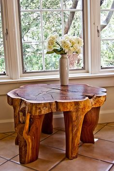 Tree trunk table- tommy, get on this