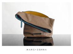 Mars+Zorba Olympia Dark Beige Clutch #calfskin #leather #clutch #handbags #pouch #carteras #sobre