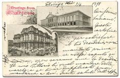 1898, picture post card to Germany from Chicago, 1c(279, x5) tied by Chicago duplexes on picture postcard of Art Institute and Court Houser & City Hall to Germany, Very Fine.