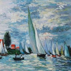 "Claude Monet painted ""Regates at Argenteuil"" (c.1872). Claude Monet, french impresionist, 1840-1926."