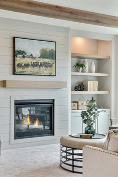 Bookshelves Around Fireplace, Built In Around Fireplace, Floating Fireplace, Fireplace Built Ins, Shiplap Fireplace, Family Room Fireplace, Home Fireplace, Fireplace Design, Fireplaces