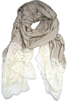 fashion, lace scarf, cloth, style, accessori, beauti, scarves, lace trim, greylac scarf