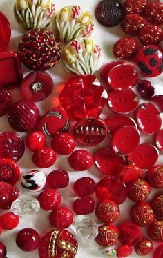 (::) Beautiful ruby red vintage glass buttons