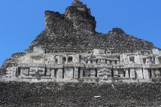 Temple friezes on a perfectly clear day in Belize. #adventure #travel http://www.kaanabelize.com/blog/index.php/2014/11/05/explore-mayan-history-on-horseback-at-the-ancient-city-of-xunantunich/