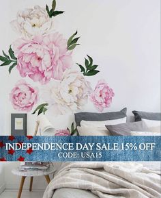 Independence Day Sale - Peony Flower Wall Sticker, Vivid Pink Watercolor Peony Wall Stickers - Floral Peel and Stick Repositionable Stickers