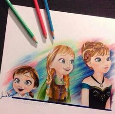 Frozen Disney movie colored pencils art