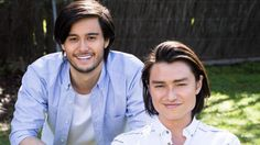 Takaya Honda and Tim Kano as twins David and Leo Tanaka on Neighbours. Both actors have Japanese dads and European mums. Mixed Race, Tv On The Radio, Tv Series, Leo, Honda, Dads, Racing, Japanese, Actors