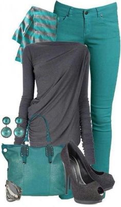 Wish I could pull this outfit off. Gray and Teal jeans Look Fashion, Winter Fashion, Fashion Outfits, Womens Fashion, Fashion Scarves, Street Fashion, Fashion Shoes, Fashion Glamour, Fashion Hub