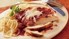 Chicken + cheese + pasta sauce + breadcrumbs = Dinner in 30 minutes