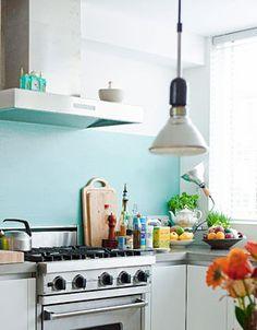 Bright kitchen, matte walls.