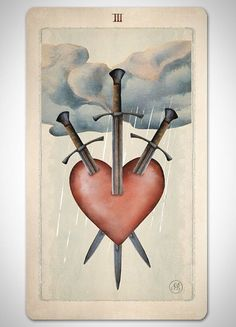 Three of Swords card in the Pagan Otherworlds Tarot