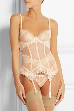 L'AGENT BY AGENT PROVOCATEUR Mirabel tulle and lace basque €180.00 http://www.net-a-porter.com/products/504569