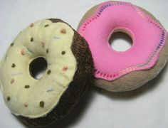 Squeaky Dog Toy Donuts set of 2 by doggydetail on Etsy, $15.00