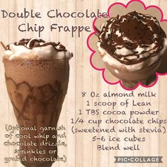 Chocolate Chip Frappe, Stevia Chocolate, Ice Cube Chocolate, Chocolate Shake, Chocolate Drizzle, Chocolate Recipes, Protein Mix, Protein Foods, Protein Shakes