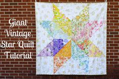 "Giant Vintage Star Quilt Tutorial by Jeni Baker.  FQ friendly, 18"" squares into HSTs.  Brilliant & easy at 55x55""."