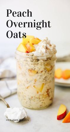 Delicious peaches and cream overnight oats made with fresh peaches and dairy-free with coconut cream. Just mix all together the night before and it's ready in the morning.