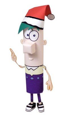 Ferb paper towel roll art..