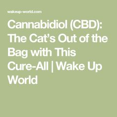 Cannabidiol (CBD): The Cat's Out of the Bag with This Cure-All | Wake Up World
