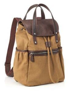 Acorn+Canvas+Backpack+with+Double+Leather+Look+Handles+(16+x+6x+12)
