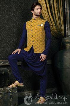 Mens Navy Blue Designer Shewani With Brocade Jacket