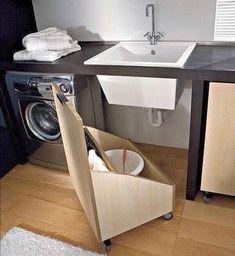 Trendy diy bathroom storage under sink kitchen organization 46 Ideas Under Sink Storage, Laundry Room Organization, Laundry Room Design, Small Storage, Diy Storage, Kitchen Storage, Storage Spaces, Storage Ideas, Organization Ideas