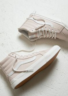White in full effect this spring with a subtle touch of pink   Vans Sk8 Hi Slim