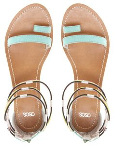 ASOS FIZZ | Leather Flat Sandals with Multi Ankle Straps
