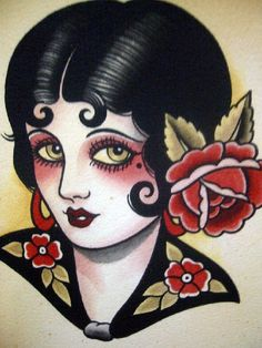 Vintage Tattoo Flash Art 22 by bonniegrrl, via Flickr. Vintage-inspired tattoos draw from all kinds of sources. I'd love to have this one.