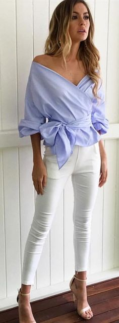 #winter #fashion /  Blue Off Shoulder Blouse / White Skinny Jeans / White Sandals