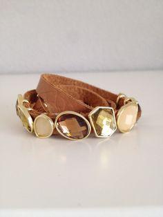 Stone Leather Wrap Bracelet
