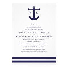 Nautical Navy Wedding Invitation Invites