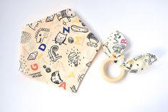 Baby Gift Set: Bandana Bib and Maple Teething Ring.  With Cartoon Pattern. Teething Ring Set, Unisex Baby Gift, New Baby Gift Idea.