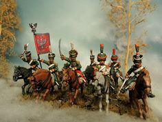 28 mm Regiment of polish Chasseurs a cheval of Murawski Miniatures Painted by Francesco Thau Napoleonic Wars, Toy Soldiers, Miniture Things, Military History, Empire, Miniatures, Tabletop, Modeling, Pictures