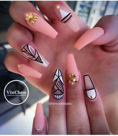 Are you looking for peach acrylic nails design? See our collection full of peach acrylic nails designs and get inspired! Fabulous Nails, Gorgeous Nails, Pretty Nails, Peach Acrylic Nails, Cute Acrylic Nails, Acrylic Nails 2017, Peach Nails, Glam Nails, My Nails