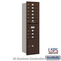 4C Horizontal Mailbox - Maximum Height Unit (56 3/4 Inches) - Single Column - 9 MB1 Doors / 1 PL - Bronze - Rear Loading - USPS Access by Salsbury Industries. $607.50. 4C Horizontal Mailbox - Maximum Height Unit (56 3/4 Inches) - Single Column - 9 MB1 Doors / 1 PL - Bronze - Rear Loading - USPS Access - Salsbury Industries - 820996415172. Save 10%!