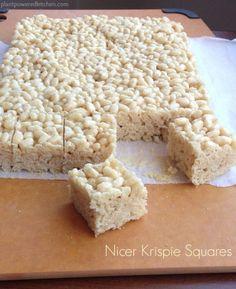 Marshmallow-free Krispie Treats!  A healthier version of Rice Krispie Treats! Nicer Krispie Squares by Dreena Burton - vegan, soy-free, gluten-free!