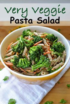 Very Veggie Pasta Salad is a quick, simple and healthy side dish, lunch or snack recipe. No mayo means it's perfect for picnics, the lake, car trips & BBQ's. It is best served best at room temperature as great accompaniment to anything you're putting on the grill.| Becky's Best Bitrd