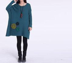 Cotton sweater sweater dress loose sweater knitted sweater cotton dress plus size sweater cotton blouse sweatershirt sweater tops -Dark blue op Etsy, £40.13