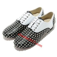 Discount Christian Louboutin Fred Flat Spikes Flats Black White