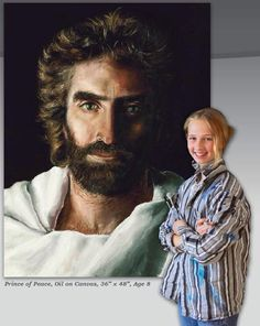 LORD JESUS - PRINCE OF PEACE & HIS Painter Akiane Kramarik --  dudes no lie shes 8 WHEN SHE DID THIS!!! OMG!!! I can hardly draw a face without doing it over atleast 5 times X( im obsessed with this stuff <3