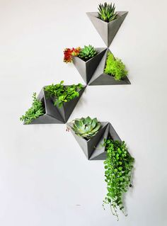 Concrete Triangle Wall-mounted Flower Pot