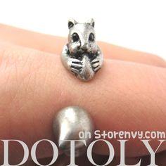Miniature Squirrel Chipmunk Animal Wrap Ring in Silver - Sizes 5 to 9