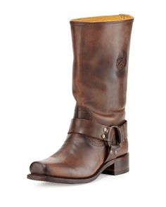 My boyfriend is the best!!!!! Can't wait the 2 months til I get my Cavalry Harness-Detailed Mid-Calf Boot, Dark Brown by Frye at Neiman Marcus Last Call