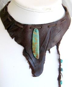SOLD Turquoise Dark Chocolate Leather Choker Shabby by EponasCrystals, $50.00