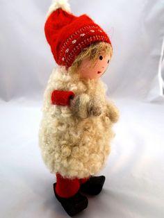 Girl Gnome in Sheepskin Coat Swedish Elf by LittleChristmasStore