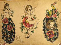 Pin Up Tattoos, Leg Tattoos, Vintage Tattoo Design, Vintage Tattoos, Antique Tattoo, Old School Ink, American Traditional, Neo Traditional, Traditional Tattoo Flash
