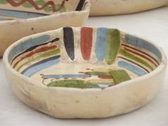 Ceramic bowls and trays | ... pottery nesting trays or bowls, old Mexico hand-painted pottery
