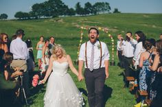 love this processional shot! | Abby & Logan's thrifted, DIY Adventure themed Virginia barn wedding | Images: An Endless Pursuit